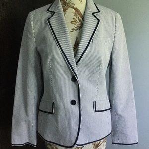 NWT Talbots seersucker jacket with trim